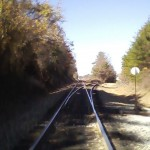 Junction where track splits off to go to Kimberly-Clark plant.